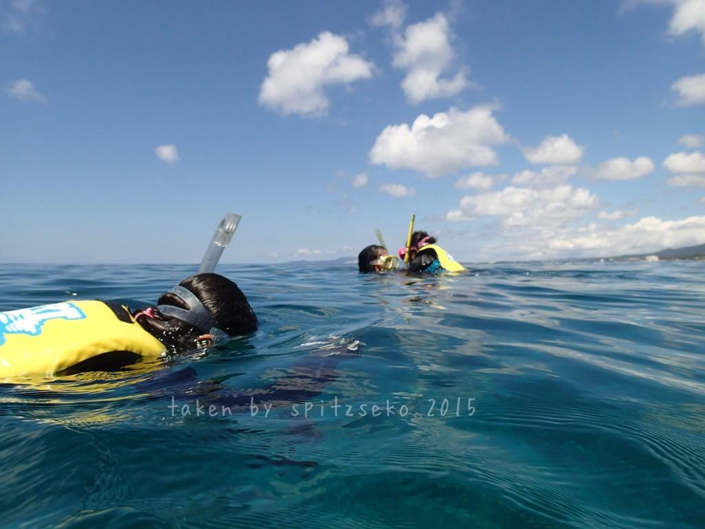 相変わらず波がない真栄田岬、次女ちゃんも練習開始