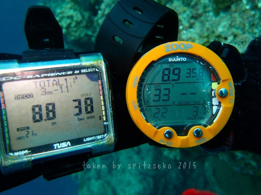 水深8.8M。空気潜水では減圧停止を11分強いられていますが、ナイトロックスではもう何分でも潜水可能ゾーンに突入