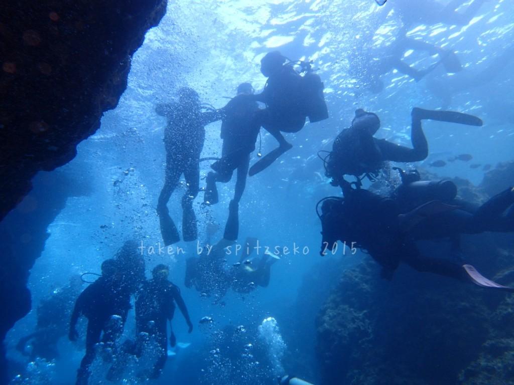 青の洞窟前の大混雑